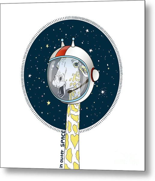 Giraffe In Outer Space, Hand Drawn Metal Print
