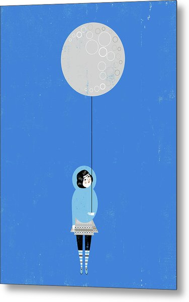 Girl Holding Full Moon Balloon Metal Print