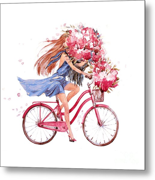 Girl On Bike.  Bicycle. Bike. Peony Metal Print