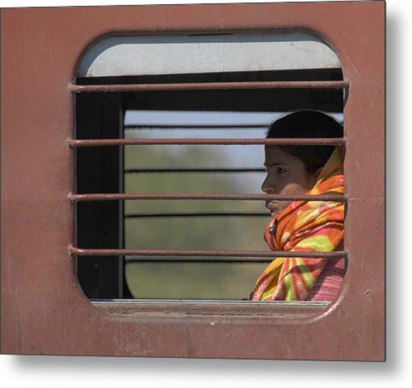 Girl On Train Metal Print