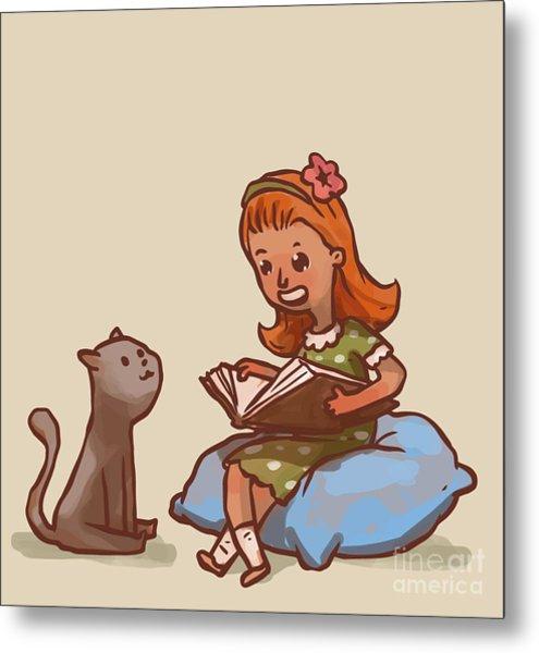 Girl Reads Book To Cat, Vector Metal Print