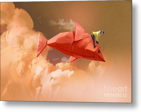 Girl Riding On The Origami Paper Red Metal Print