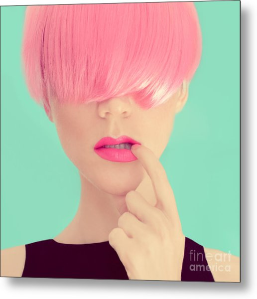 Girl With Pink Hair. Fashionable Trend Metal Print
