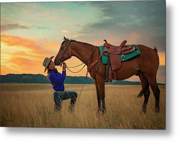Girls And Horses Metal Print