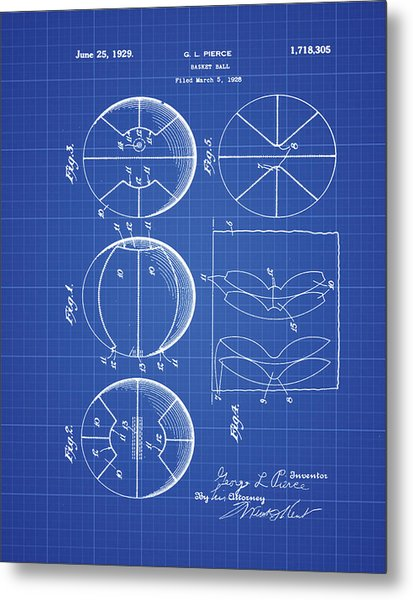 Gl Pierce Basketball Patent 1929 In Blue Print Metal Print