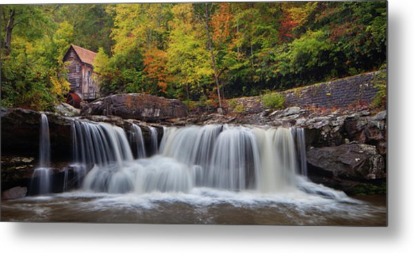 Glade Creek Grist Mill And Cascade Metal Print