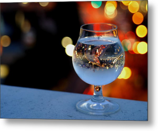 Glass Of Water Overlooking Vienna Metal Print