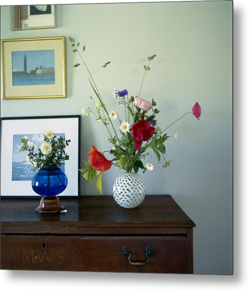 Glass Vases Of Rose Rosa And Metal Print