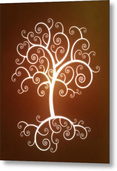 Glowing Tree With Roots Metal Print by Chad Baker
