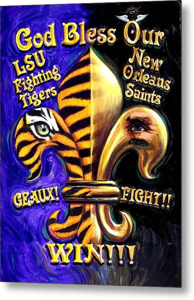God Bless Our Tigers And Saints Metal Print