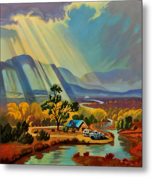 God Rays On A Blue Roof Metal Print