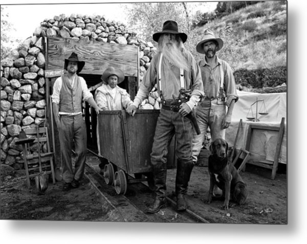Gold Miners In Front Of A Mine Shaft Metal Print
