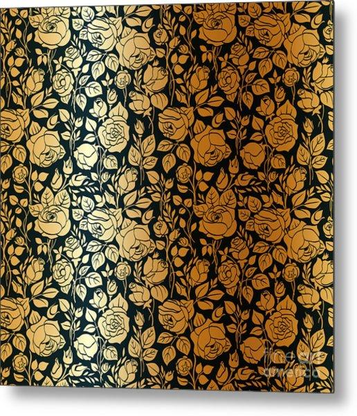Gold Vintage Seamless Pattern With Metal Print