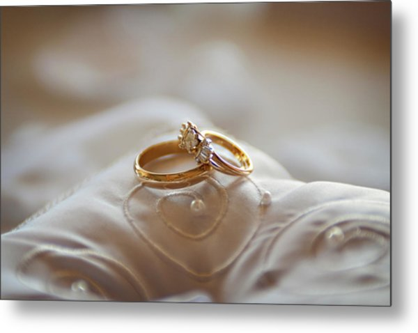 Gold Wedding Rings On A Pillow Metal Print by Driendl Group