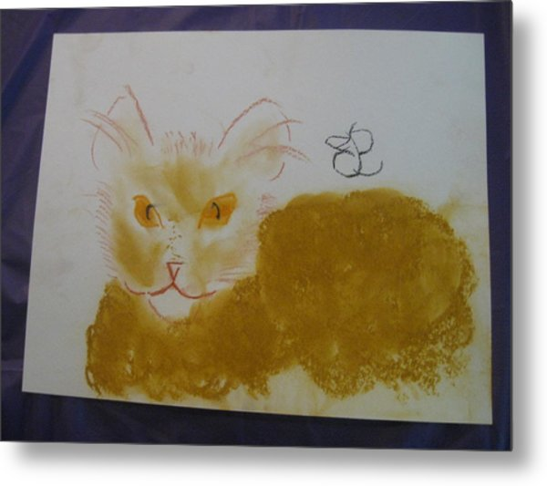 Metal Print featuring the drawing Golden Cat by AJ Brown