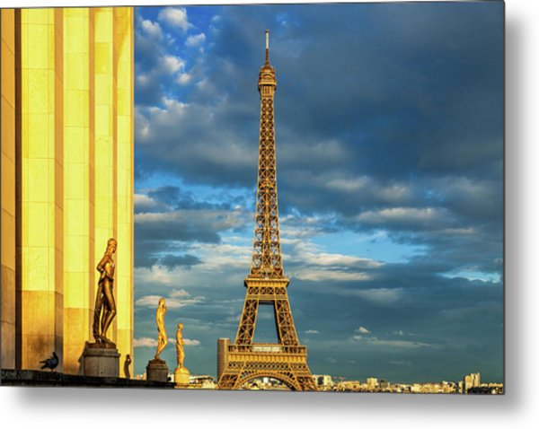 Golden Eiffel Tower Metal Print by Andrew Soundarajan