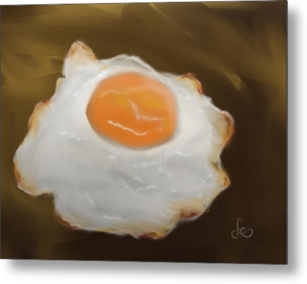 Metal Print featuring the pastel Golden Fried Egg by Fe Jones