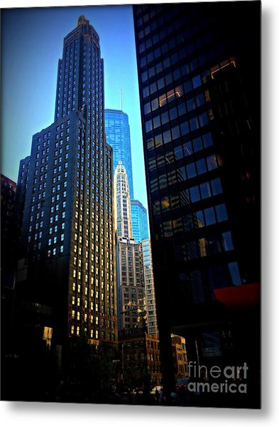 Golden Hour Reflections - City Of Chicago Metal Print