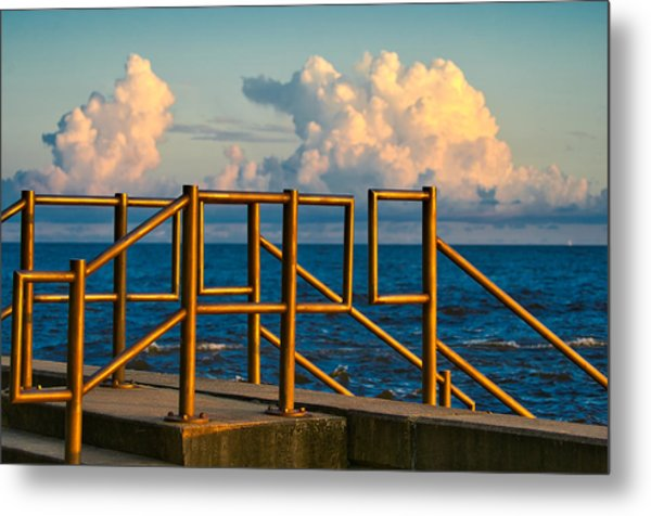 Golden Railings Metal Print