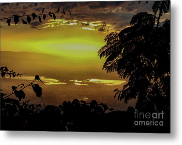 Golden Sunset On Strawberry Hill Metal Print