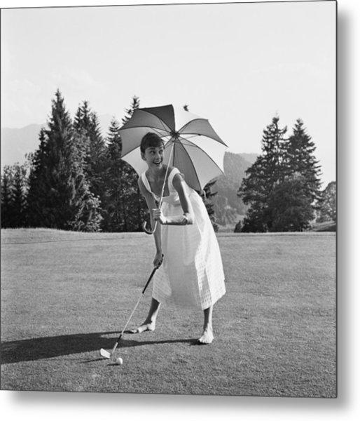 Golfing Hepburn Metal Print by Hulton Archive