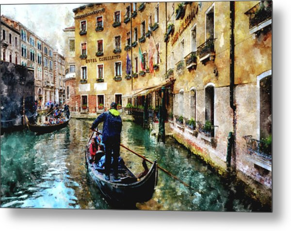 Gondola Traffic Near Piazza San Marco In Venice, Italy - Watercolor Effect Metal Print