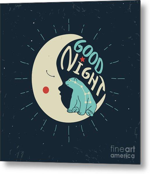 Good Night Polar Bear With Ursa Major Metal Print