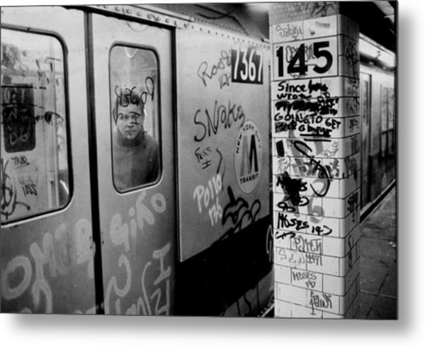 Graffiti Covers Platform And Subway At Metal Print