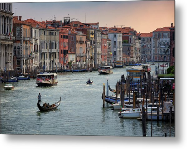 Grand Canal Gondolier Venice Italy Sunset Metal Print