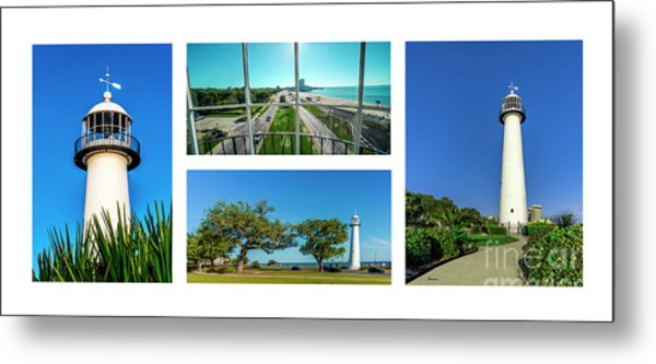 Grand Old Lighthouse Biloxi Ms Collage A1a Metal Print