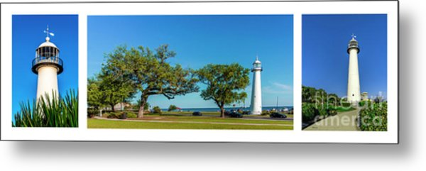 Grand Old Lighthouse Biloxi Ms Collage A1e Metal Print
