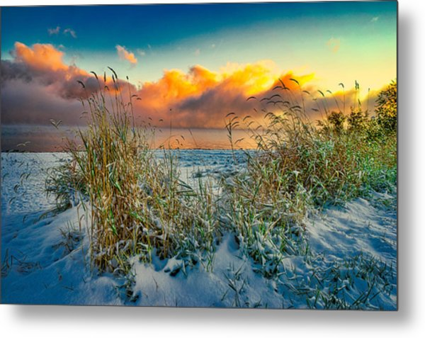 Grass And Snow Sunrise Metal Print