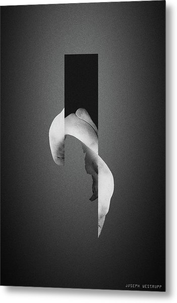Gray Bone Flare - Surreal Abstract Elephant Bone Collage With Rectangle Metal Print