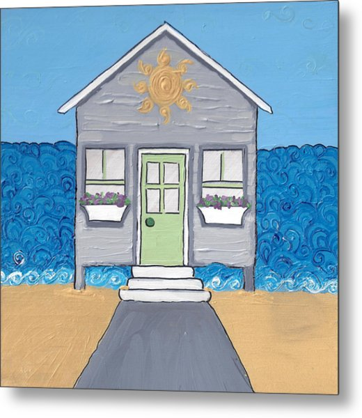 Gray Cottage On The Beach Metal Print