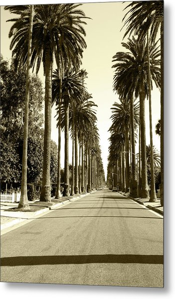 Grayscale Image Of Beverly Hills Metal Print