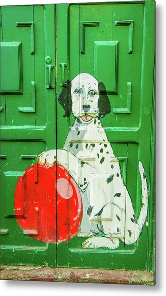 Green Door With Dog In Arica Chile Metal Print