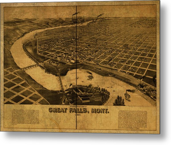 Great Falls Montana Vintage City Street Map 1891 Metal Print