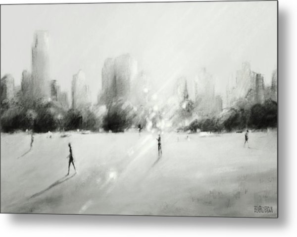 Great Lawn Light Central Park Nyc Metal Print