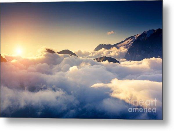 Great View Of The Foggy Val Di Fassa Metal Print