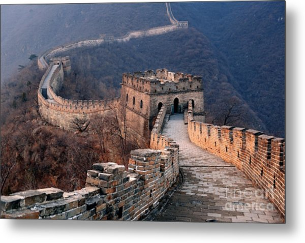 Great Wall Sunset Over Mountains In Metal Print