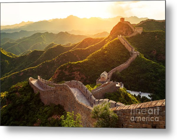 Great Wall Under Sunshine During Sunset Metal Print