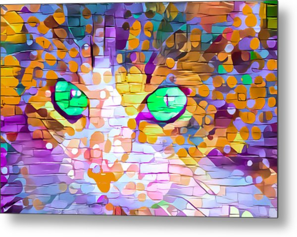 Green Eyed Cat Abstract Metal Print