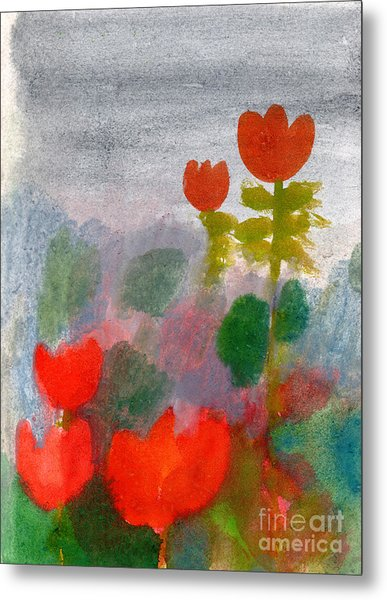 Green Life. Nature. Flowers. Red Metal Print