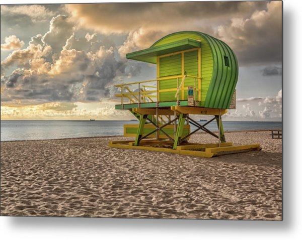 Green Lifeguard Stand Metal Print