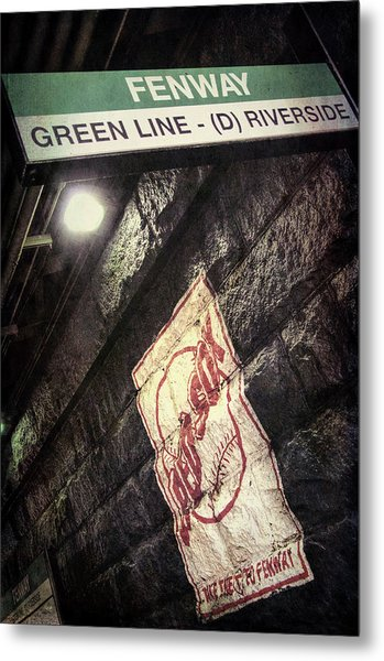 Metal Print featuring the photograph Green Line Boston T Stop At Fenway Park by Joann Vitali