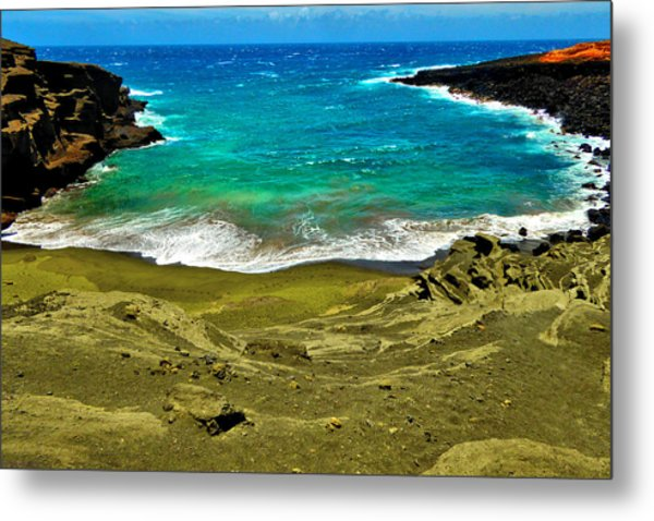 Green Sand Beach Metal Print