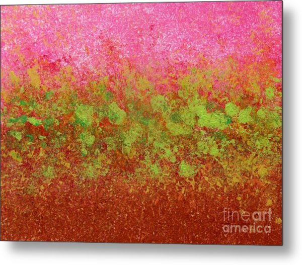 Greenery With Pink - Art By Cori Metal Print