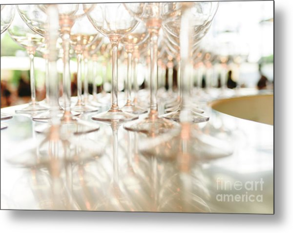 Group Of Empty Transparent Glasses Ready For A Party In A Bar. Metal Print
