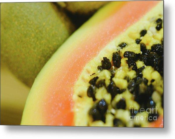 Group Of Fruits Papaya, Grape, Kiwi And Bananas Metal Print