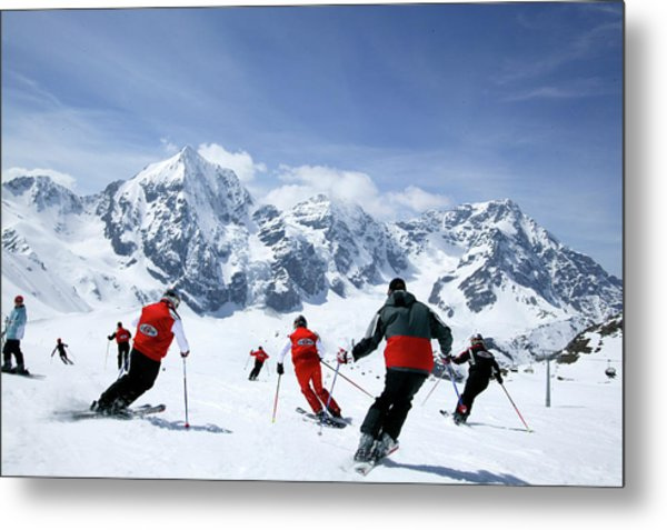 Group Of Skiers On The Slope, Ortler Metal Print